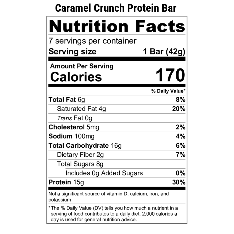 Caramel Crunch Protein Bar Nutrition Label