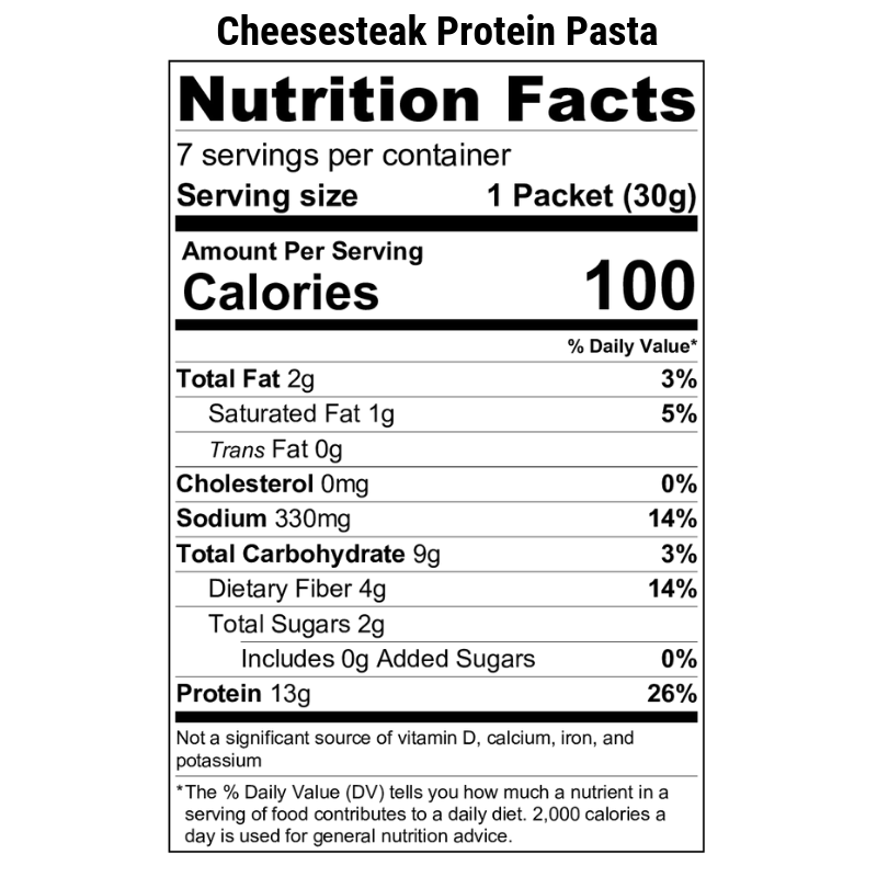 Cheesesteak Protein Pasta Nutrition Label