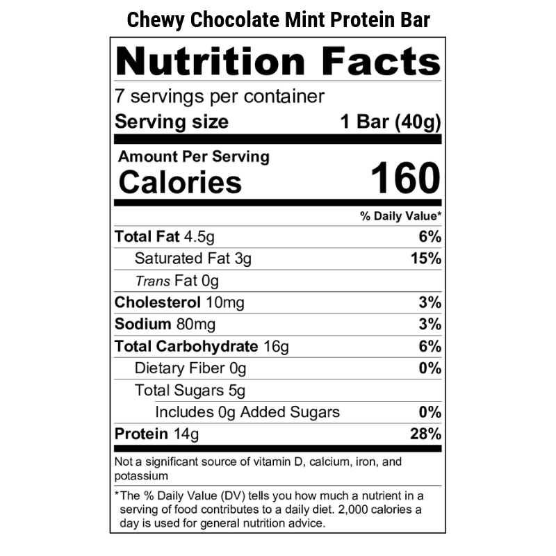 Chewy Chocolate Mint Protein Bar Nutrition Label
