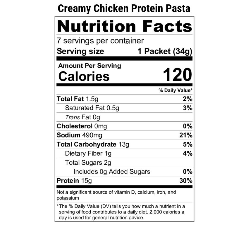 Creamy Chicken Protein Pasta Nutrition Label