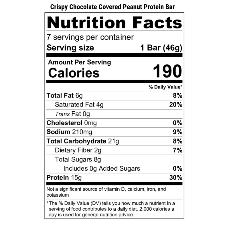 Crispy Chocolate Covered Peanut Protein Bar Nutrition Label
