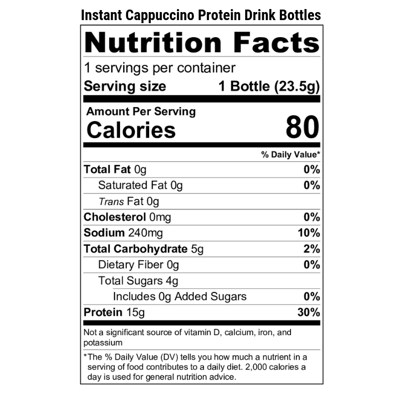 Instant Cappuccino Protein Drink Bottles Nutrition Label