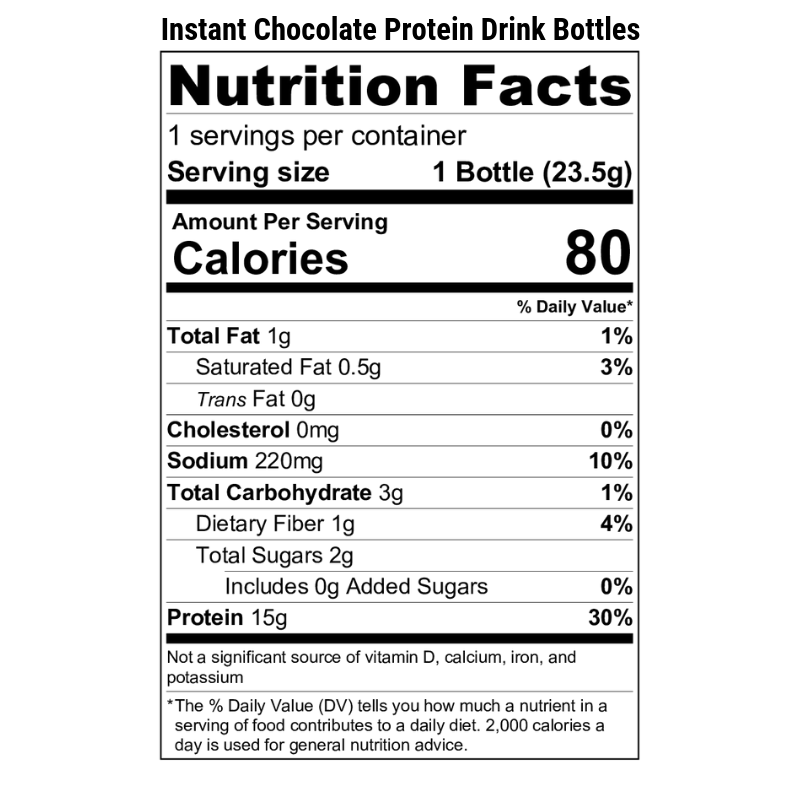 Instant Chocolate Protein Drink Bottles Nutrition Label