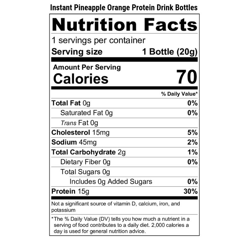 Instant Pineapple Orange Protein Drink Bottle Nutrition Label
