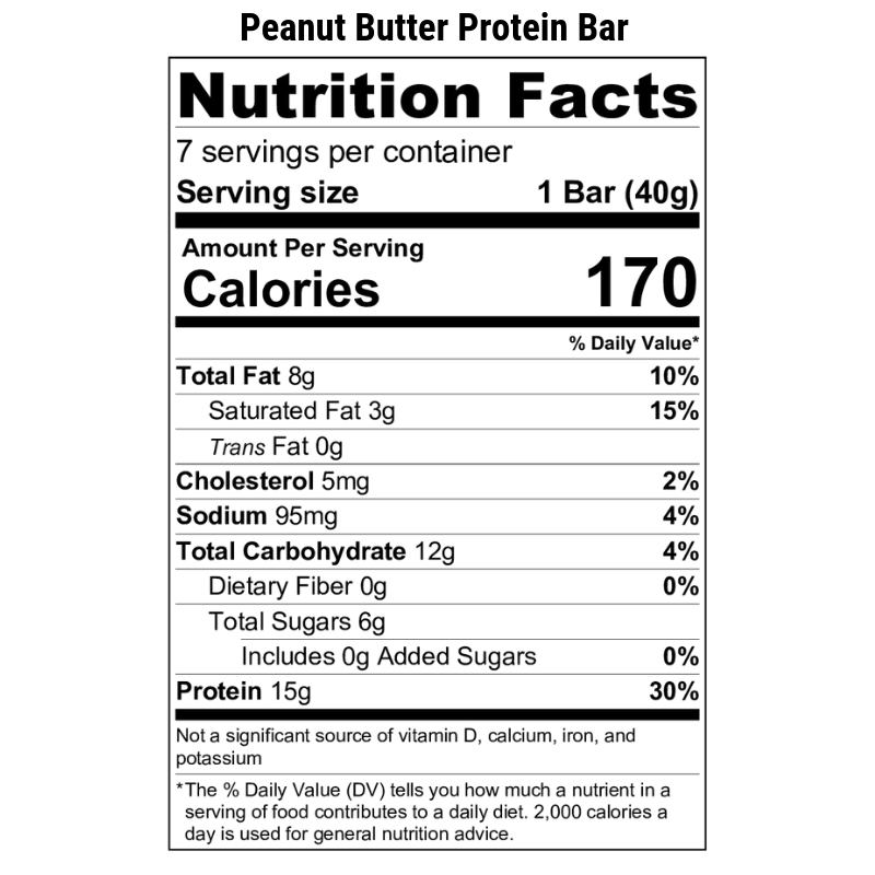Peanut Butter Protein Bar Nutrition Label