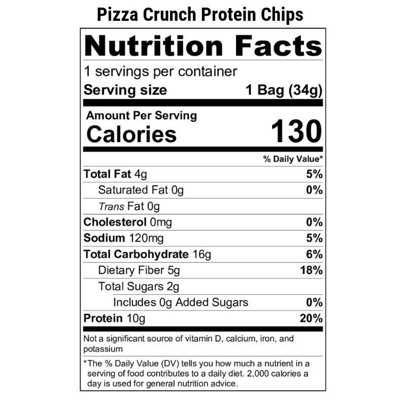 Pizza Crunch Protein Chips Nutrition Label