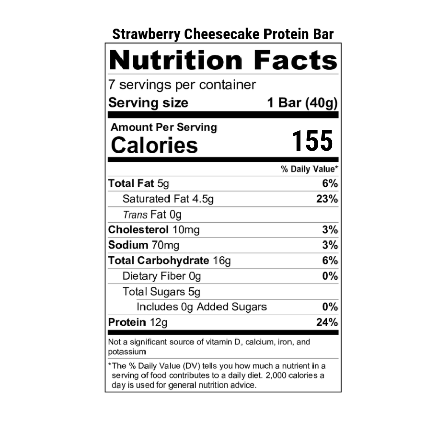 Strawberry Cheesecake Bar Label