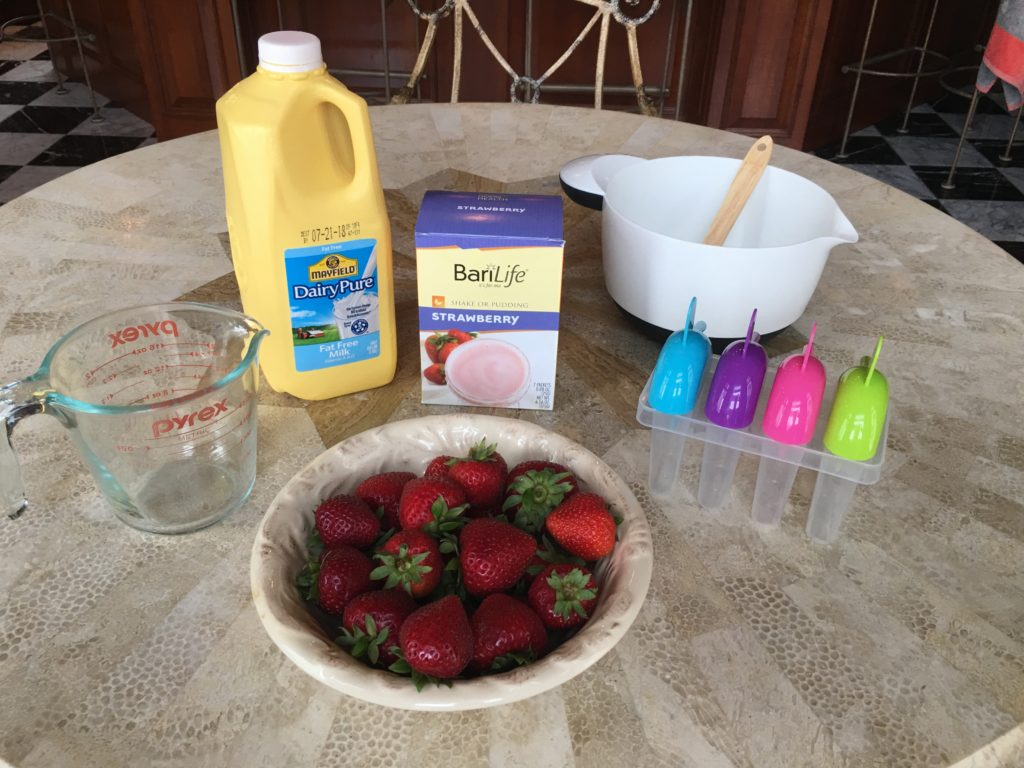 Strawberry Protein Popsicle Supplies