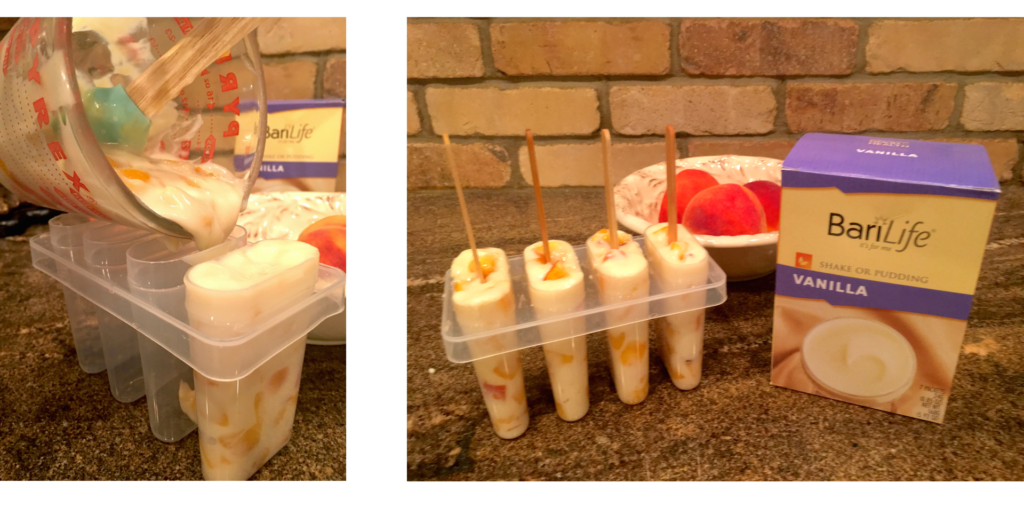 Peaches and cream protein popsicles visual instructions