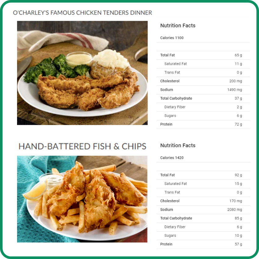 O'Charley's what to avoid to stay bariatric friendly