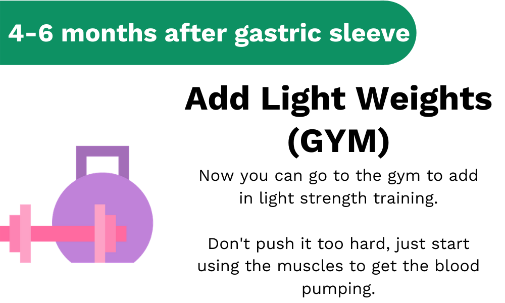 4-6 months after gastric sleeve you can go to the gym and start to add light weights to your routine.